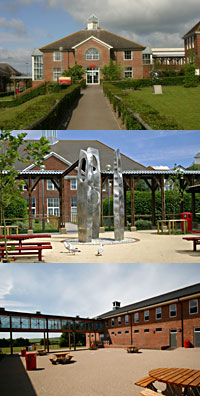Montage of images of the school building